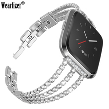 Wearlizer For Fitbit Versa Smart Bracelet Stainless Steel Diamonds Strap Metal Wristband For Fitbit Versa Smart Watch Band mijobs pc diamonds case cover for fitbit versa band screen protector watch shell smart watch accessories for fitbit versa lite