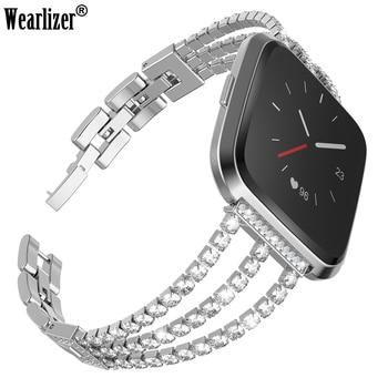 Wearlizer For Fitbit Versa Smart Bracelet Stainless Steel Diamonds Strap Metal Wristband For Fitbit Versa Smart Watch Band