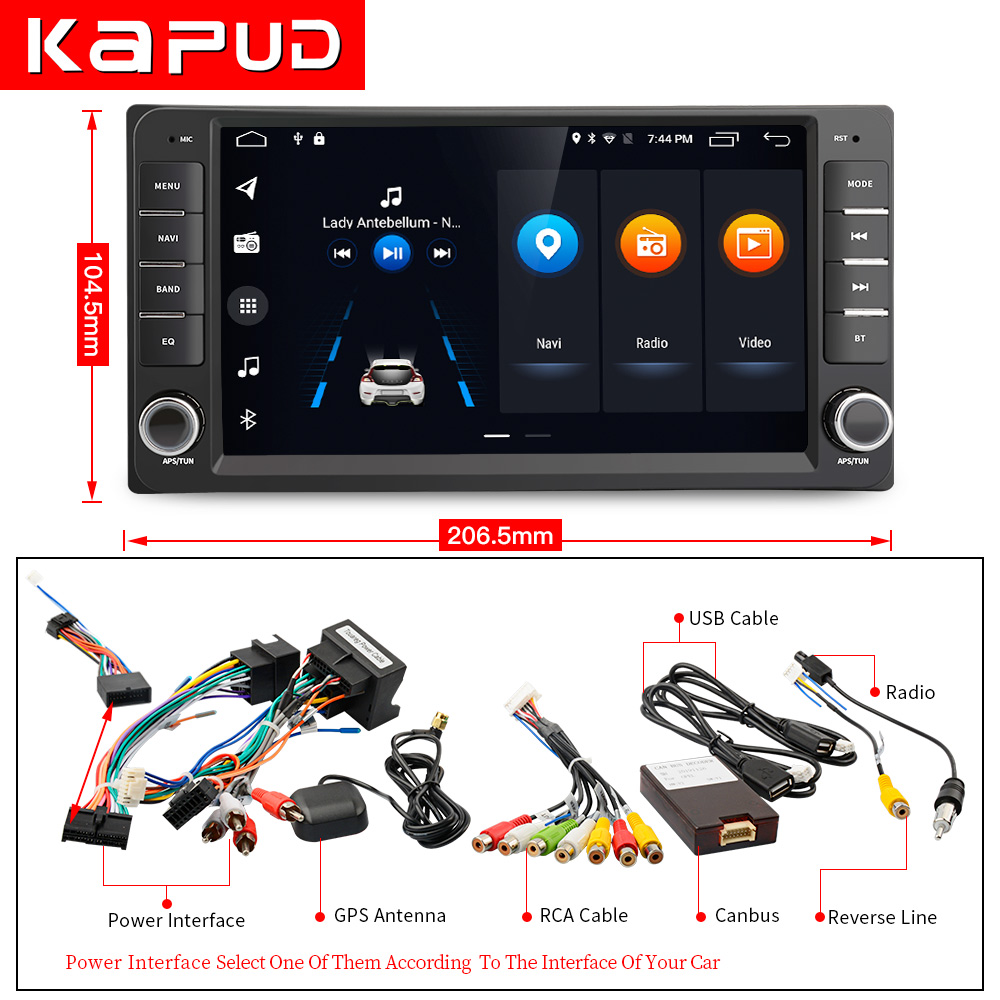 Kapud Android 10 Car Radio For Toyota <font><b>Corolla</b></font> Multimedia Touch Screen Player <font><b>E120</b></font> E150 2002 2004 2005 2006 2008 2009 DSP GPS BT image