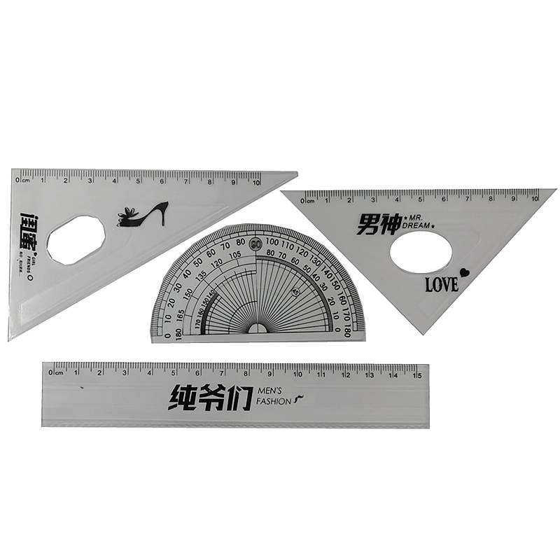 Mathematical Geometry Triangle Ruler Set Office School /New Environmentally Friendly Plastic Ruler Aluminum Protractor Students