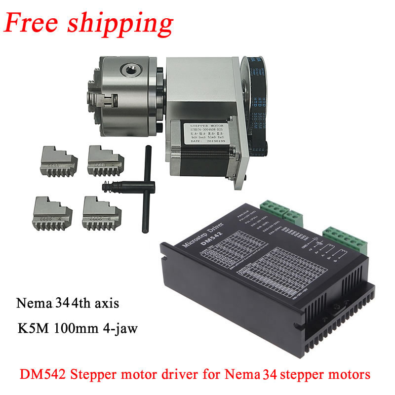 Rotary Axis 4th Axis Tailstock Cnc Kit Chuck 100mm 3:1 3-jaw 4-jaw Nema34 86 Stepper Motor For Cnc Woodworking Engraver