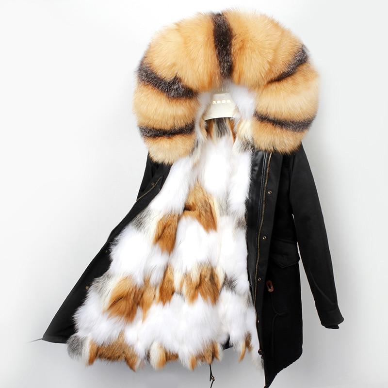 2019 Winter Coat Women Jacket Real Fur Long Coat Natural Wolf Fur Liner Parka Thick Warm Outwear Waterproof Fabric Luxury New