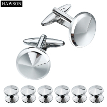 Fashion Black Gun Plated Cuff links Studs Exquisite Tuxedo Cufflinks Sets For Groomsmen Wedding Jewelry