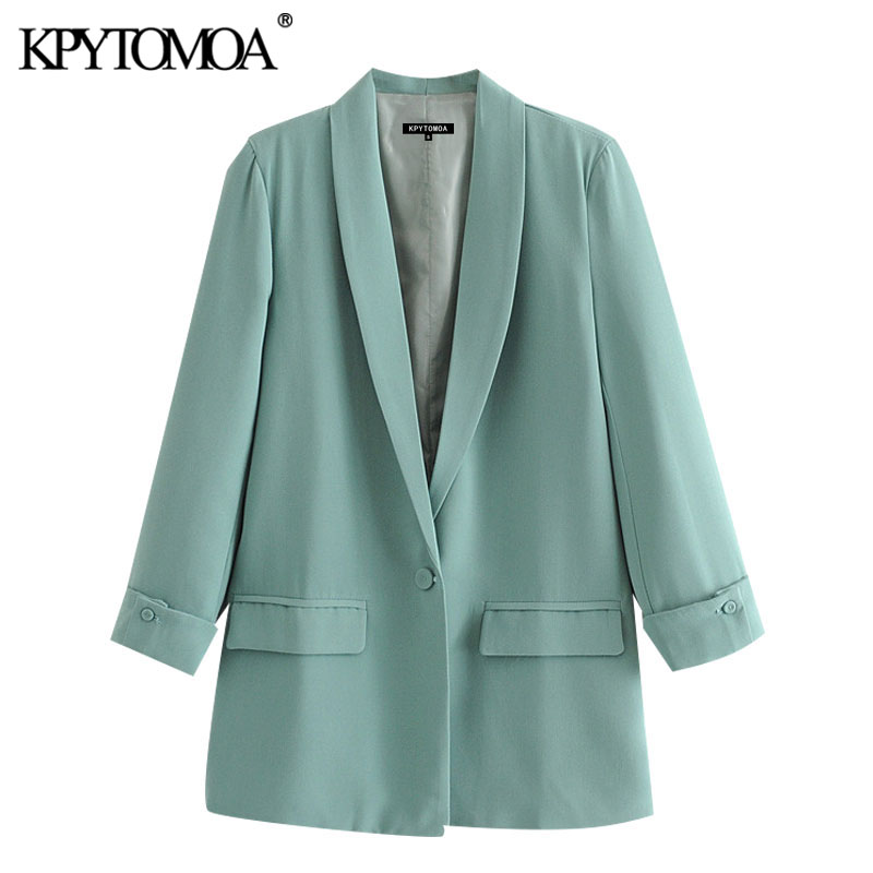 KPYTOMOA Women 2020 Fashion Office Wear Single Button Blazers Coat Vintage Long Sleeve Pockets Female Outerwear Chic Tops