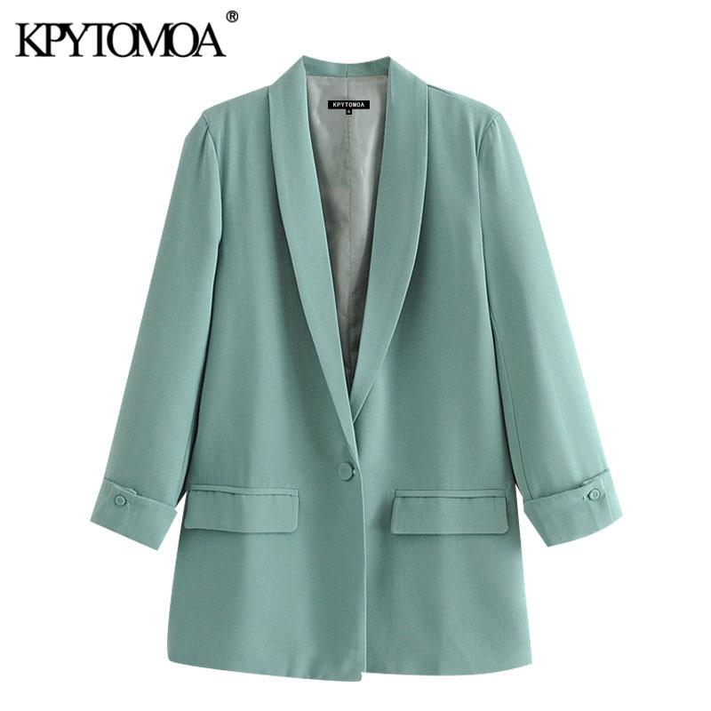 KPYTOMOA Women 2020 Fashion Office Wear Single Button Blazers Coat Vintage Long Sleeve Pockets Female Outerwear Chic Tops