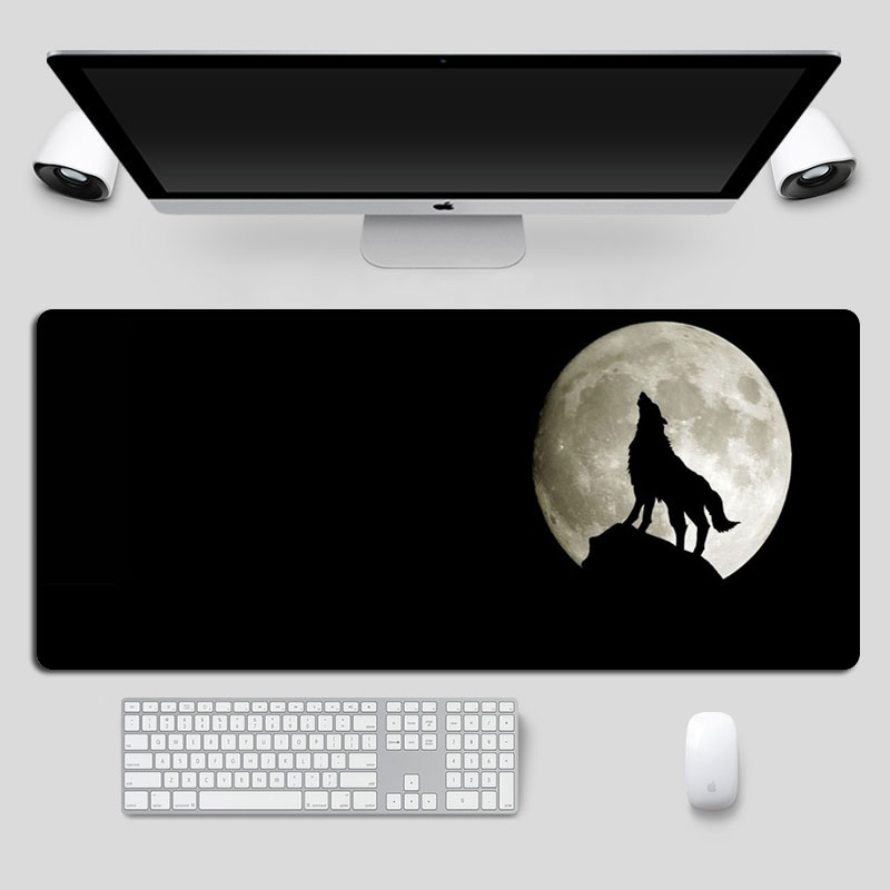 SIANCS Large Gaming MousePad Cool Black Full Moon Wolf Mouse Pad Gamer XL Locking Edge Non-Skid  Laptop Notebook Desk Mat
