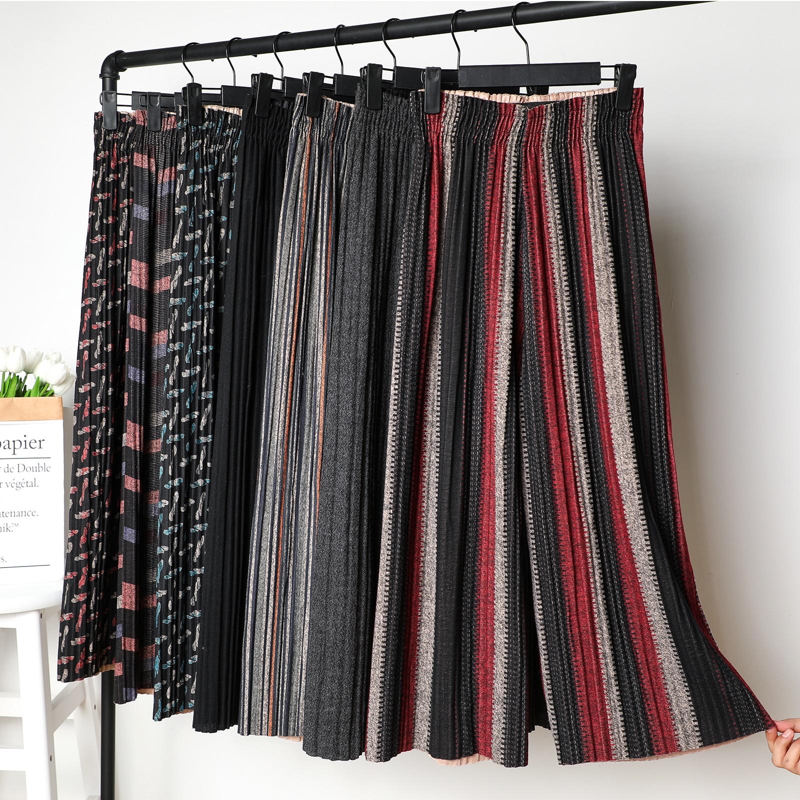 2019 New Autumn Winter Woolen Wide Leg Pants For Women Harem pant Elastic Waist Pleated Trousers