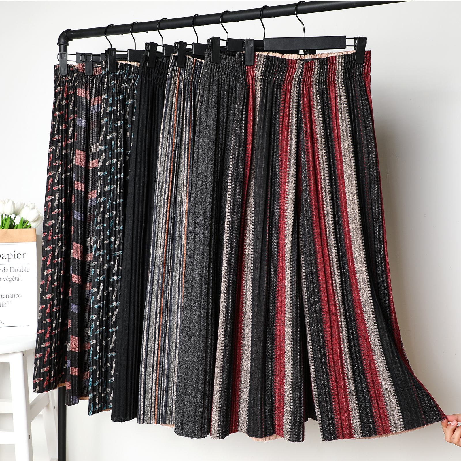2019 New Autumn Winter Woolen   Wide     Leg     Pants   For Women Harem   pant   Elastic Waist Pleated Trousers Pleated   Pant   Thick Flared   Pants