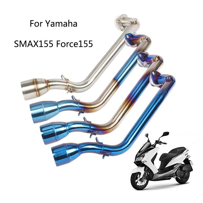 Pour Yamaha SMAX155 Force155 tuyau déchappement moto en acier inoxydable tuyau avant glisser sur Scooter modifié système déchappement bleu