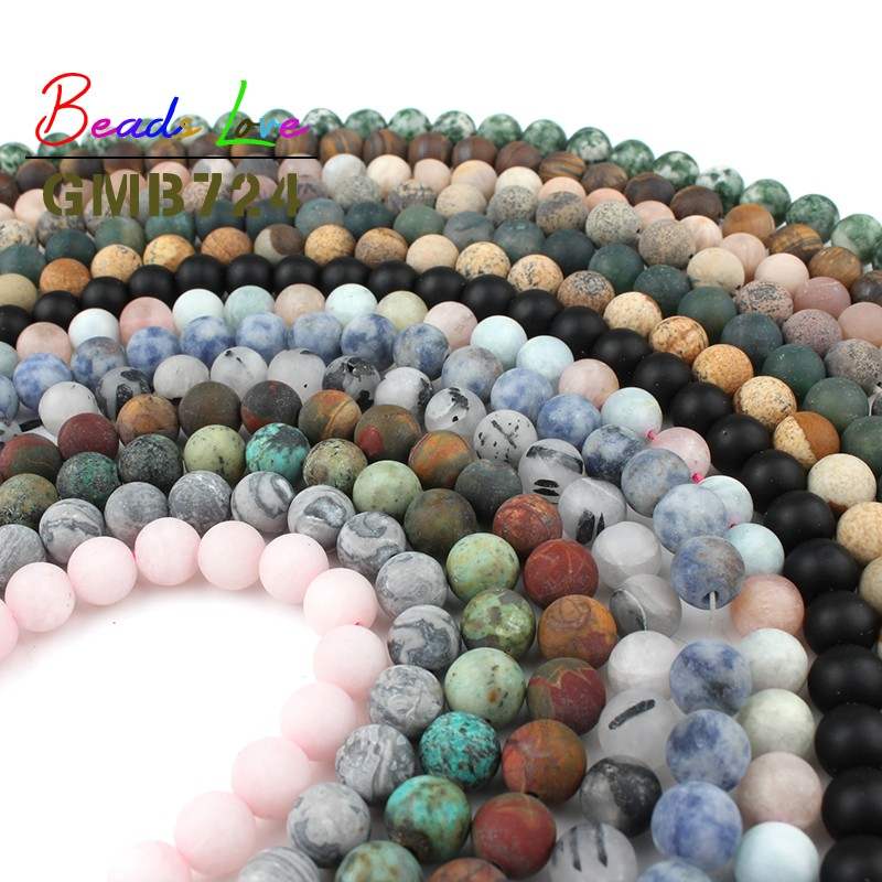 Wholesale Dull Polish Matte Agates Jada Round Loose Beads For Jewelry Making Natural Stone DIY Bracelet Necklace 4/6/8/10MM 15''