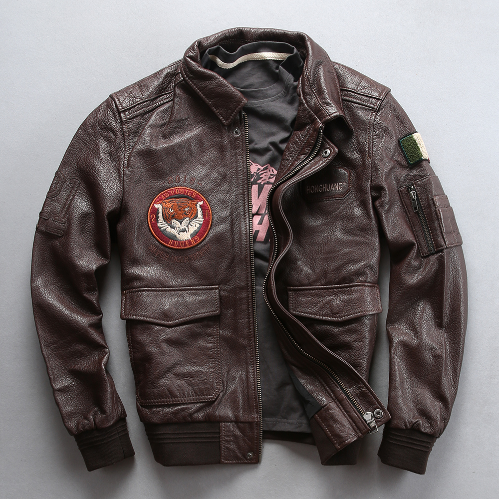2019 New Men Black Air Force A1 Pilot Genuine Leather Jacket Fashion Embroidery Tiger head Sheepskin flight Jackets Winter Coats
