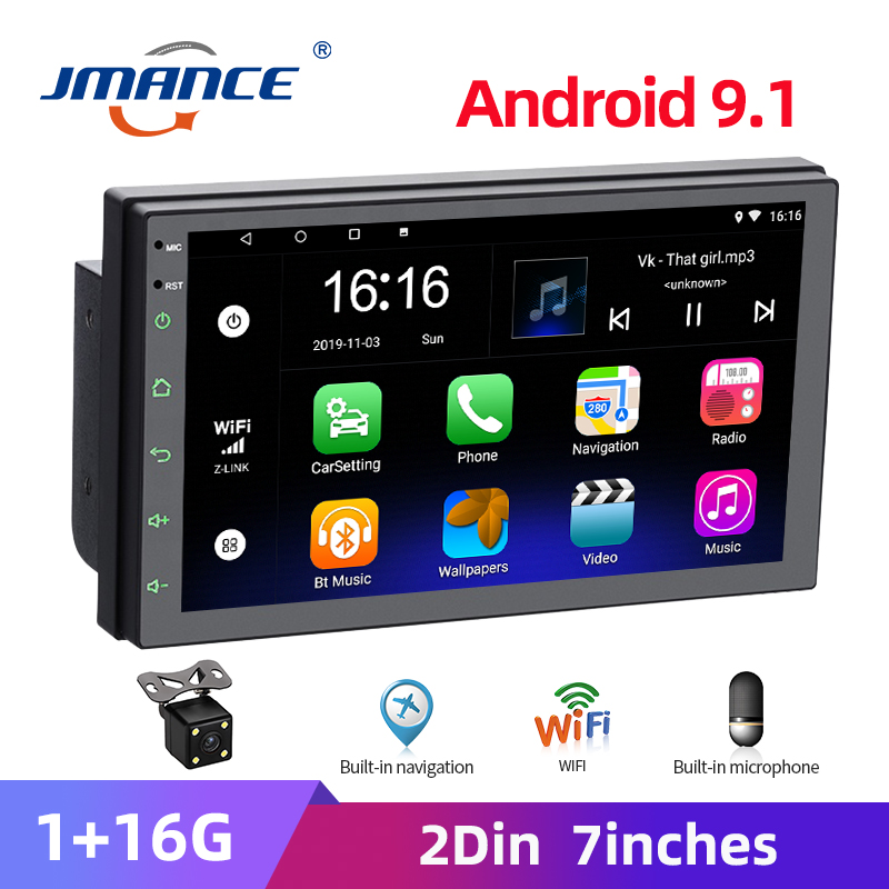JMANCE 2 Din Car Radio Android Player GPS Multimedia  Autoradio 7   Touch Screen Bluetooth FM WIFI Stereo Mirrorlink For Toyota