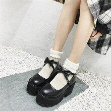 YMECHIC 2020 חדש צלב רצועת Bowtie Harajuku פאנק המפלגה לוליטה מרי ג יין גבירותיי נעליים עם עקבים גבוהים שחור פלטפורמת נשים משאבות