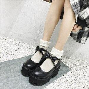Image 1 - YMECHIC 2020 ニュークロスストラップボウタイ原宿パンクパーティーロリータメアリージェーン女性の靴ハイヒール黒プラットフォーム女性パンプス