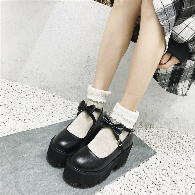 YMECHIC 2020 ニュークロスストラップボウタイ原宿パンクパーティーロリータメアリージェーン女性の靴ハイヒール黒プラットフォーム女性パンプス