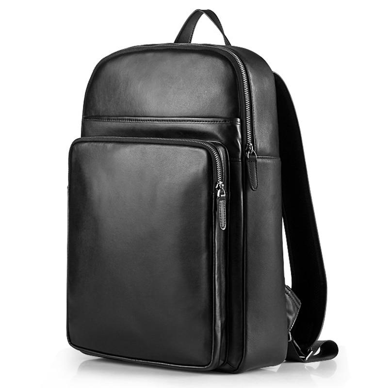 Мужской кожаный рюкзак Корейская версия первого слоя кожаный рюкзак досуг спортивный рюкзак - Цвет: Черный
