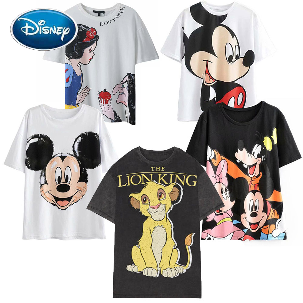 Disney Fashion Snow White Princess Mickey Mouse Cartoon Print Women T Shirt Casual O Neck Pullover Short Sleeve Loose Tee Tops|T-Shirts| - AliExpress