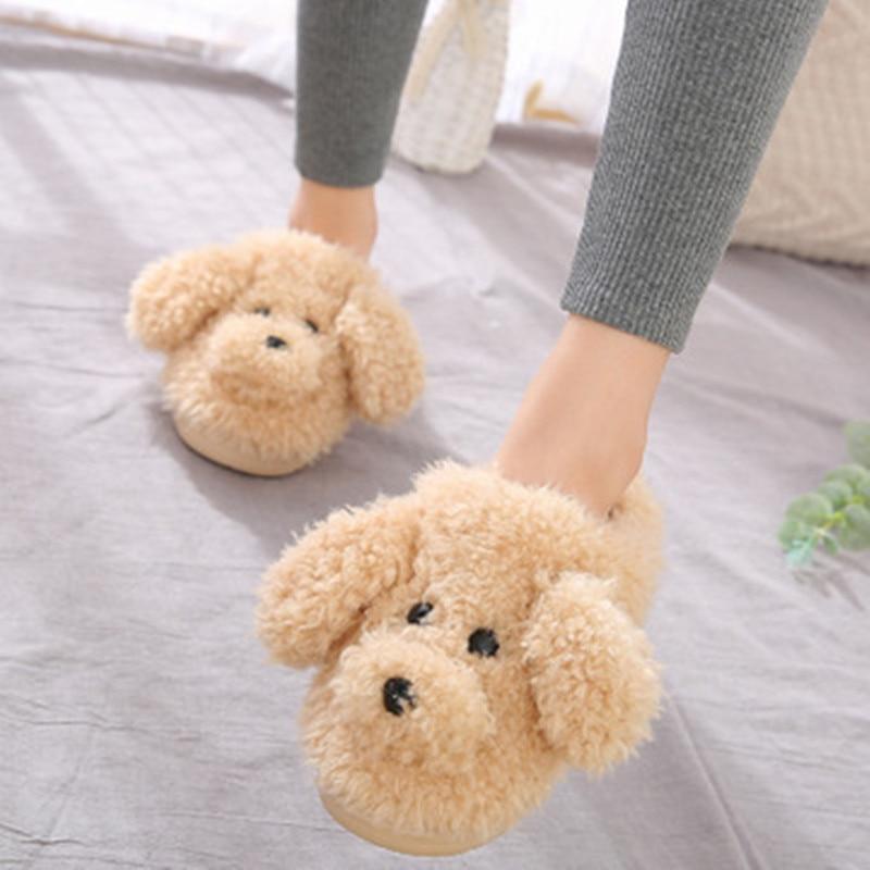 2019 New Autumn Winter Women Slippers cute cartoon puppy teddy wool cotton Home Soft anti-slip Fur Indoor Floor women Men Shoes 1