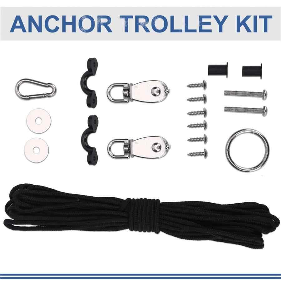 Kayak Canoe Anchor Trolley Kit Rope Pully Block Cleat Pad Eye Rigging Ring 2020