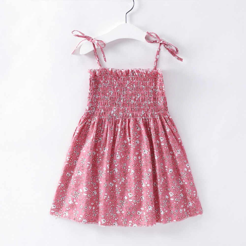 Crianças vestidos para meninas crianças vestido de princesa da criança do bebê flor impressão sundress 1 2 3 4 5 6 7 anos menina verão elegante vestido