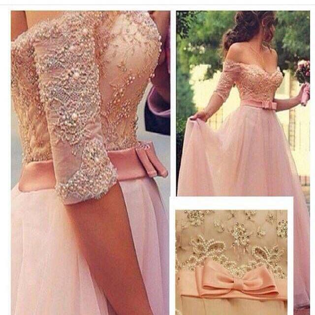 Scoop Neckline Pink Long Beaded Dress Abendkleider Formal Evening Prom Dresses 2016
