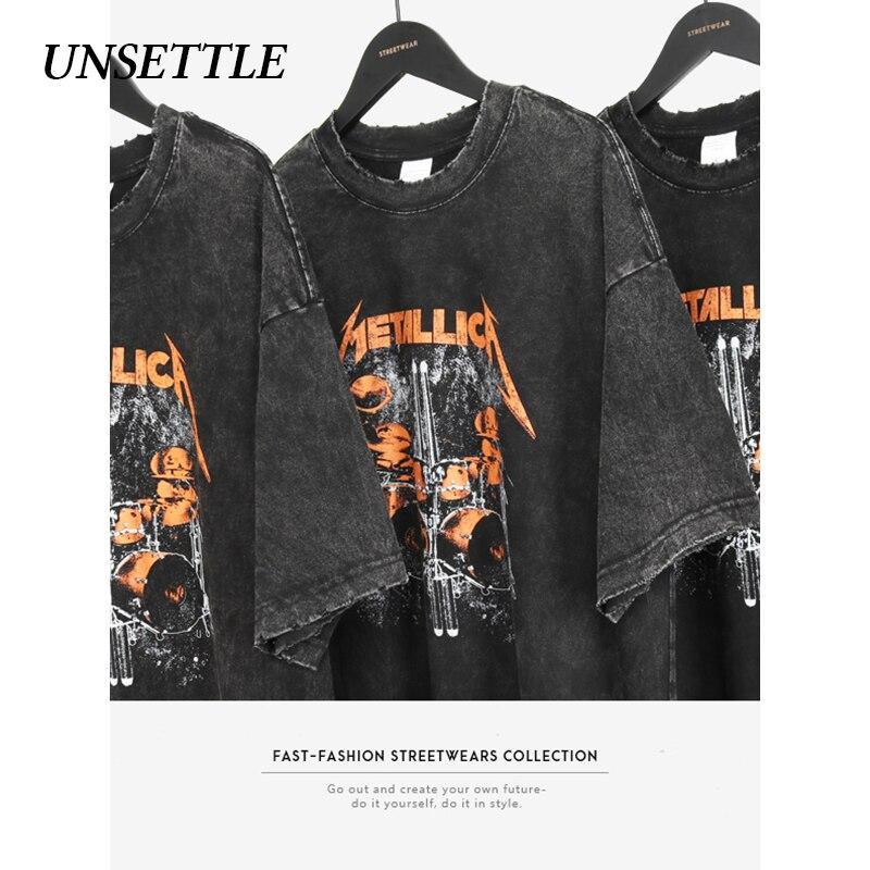 UNSETTLE 2020SS Harajuku Gothic Rock T-shirts Summer Men/Women Hip Hop Print  Fashion Streetwear T Shirt Short Sleeve Tee Tops