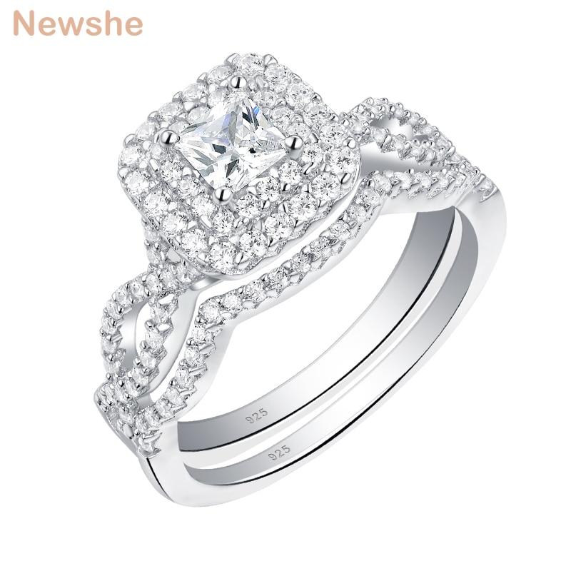 Newshe solide 925 en argent Sterling anneaux de mariage pour les femmes Double Halo princesse coupe AAA Zircon bague de fiançailles ensemble de mariée BR0979
