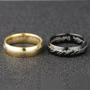 Мужское кольцо с надписью Sauron Elf Frodo Baggins Gollum JRR Tolkien, золото, черный титан, нержавеющая сталь, ювелирные изделия для фильмов, оптовая продажа