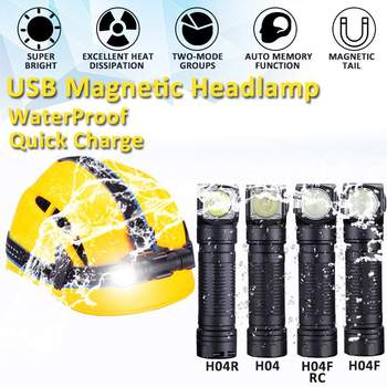 1200lm Dual Group Modes Magnetic LED Headlamp L-shape 18650 Flashlight IPX8 Waterproof Headlight Camping Hunting Head Torch