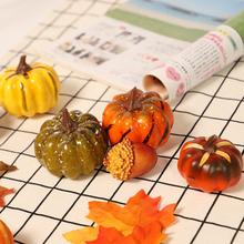 Artificial Pumpkins with Maple Leaves Autumn Color Series Desktop Decoration for Halloween Thanksgiving