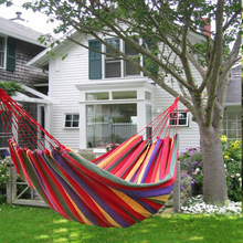 1-2 Person Portable Hammock Outdoor Camping Hammock Garden Sport Home Travel Camping Swing Canvas Stripe Hang Bed Sleeping Swing