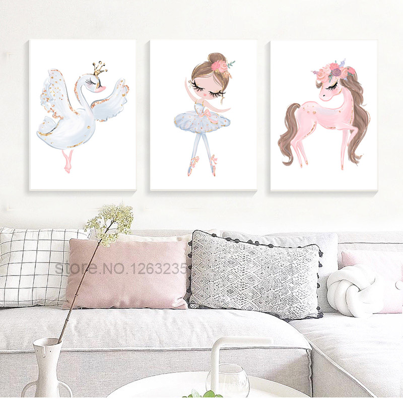 Ballet Princess Nursery Nordic Poster Unicorn Wall Art Canvas Painting Swan Wall Pictures For Children Room Ballet Princess Nursery Nordic Poster Unicorn Wall Art Canvas Painting Swan Wall Pictures For Children Room Kid Cuadros Unframed
