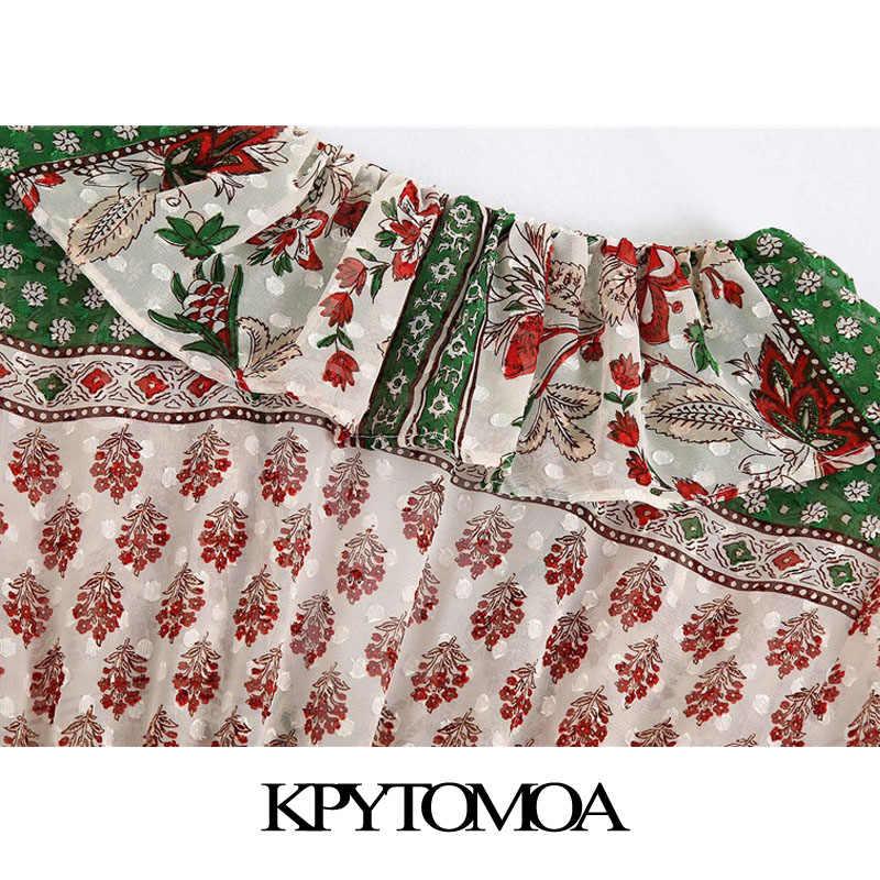 Kpytomoa Vrouwen 2020 Chic Fashion Verstoorde Gedrukt Midi Jurk Vintage V-hals Lange Mouwen Elastische Taille Vrouwelijke Jurken Vestidos