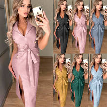 Fashion Wanita Tanpa Lengan Kerah V Leher Kerah Bodycon Pesta Evening Koktail Pensil Midi Split Gaun(China)