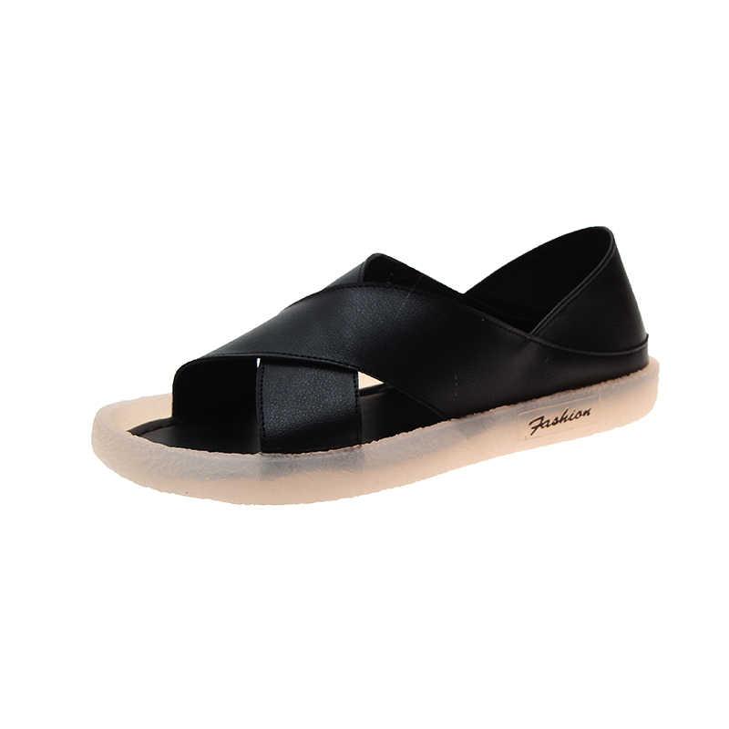 Yaz kadın rahat ayakkabılar terlik roma Retro kalın alt burnu açık sandalet plaj kayma slaytlar hızlı kargo Sapato feminino