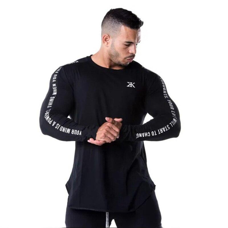 Long Sleeve Mens Running Sport Shirt Men Gym Fitness Skinny T-shirt Male Bodybuilding Jogging Training Black Tee Tops Rashgard