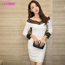 2019 autumn new word shoulder sexy temperament slim waist dress Zippers  Knee-Length Regular Sheath