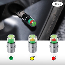 4 Pack Car Auto Tire Valve Cup 36 PSI 2.4 Bar Car Tire Pressure Monitoring Valve Cap Sensor Indicator 3 Color Eye Alert DB017 skyrc racingstar rstw tire warmer with led indicator