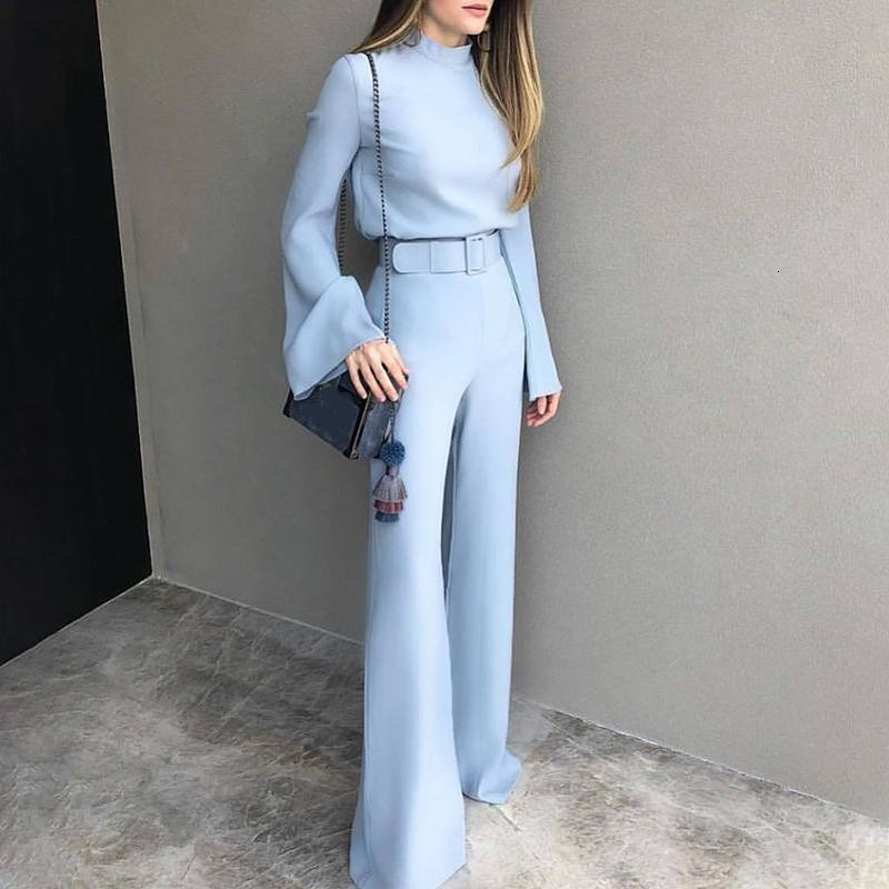 2019 Fashion Ladies Solid Rompers Party Clubwear Long Sleeve Sashes Wide Leg Jumpsuit Long Trousers