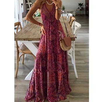 цена на 2020 Women's Floral Long Maxi Dress Sleeveles Loose Retro Bohemian Deep V Neck Dresses Summer Dress Plus Size vestidos