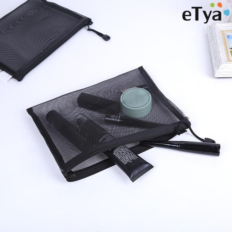 ETya  Travel Cosmetic Bag Zipper Transparent Net Toiletry Kits Storage Pouch Female Gir Beauty Makeup Pouch Case