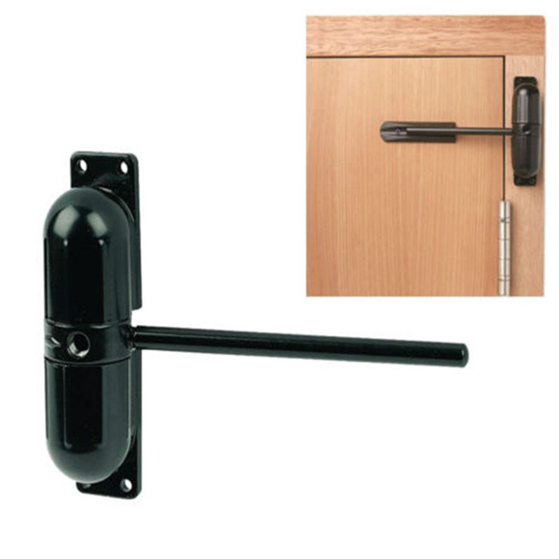 1 Set 10-70Kgs Black Adjustable Surface Mounted Spring Door Closer Automatic Door Closer Fire Rated