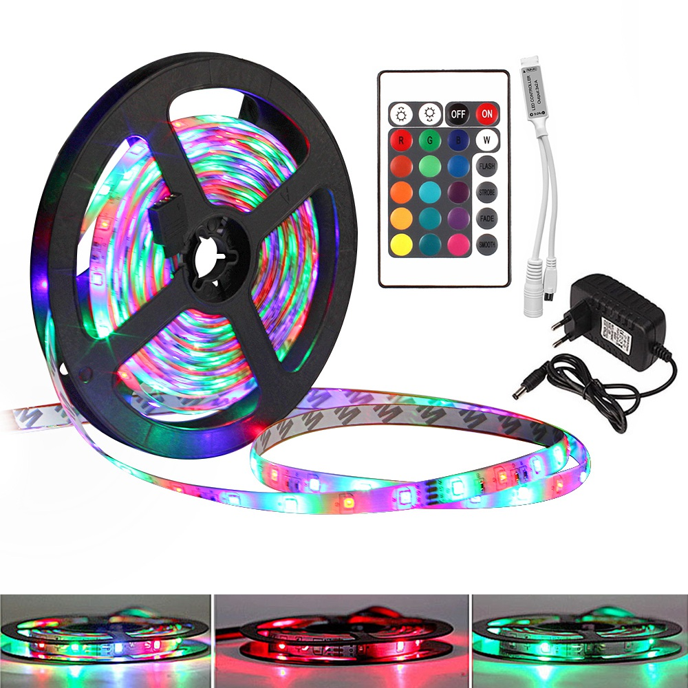 RGB Led Strip Diode Tape 5050 2835 5M 10M 15M Waterproof Flexible Ribbon Tiras Led Lights DC 12V With IR Remote Control +Adapter