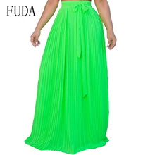 FUDA Neon Color Summer Elegant Bohemia Chiffon Pleated Long Skirts Elastic Waist Women Floor-Length Casual Beach Maxi Skirt