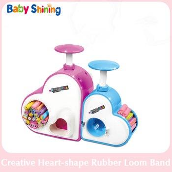 Bebé brillante creativo forma de corazón de goma Loom banda DIY pulsera collar tejido Pop hecho a mano cuenta para niños niñas regalo