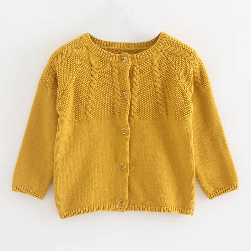 Zwykły różowy dziecko rozpinany sweter jesień żółta kurtka 6 9 12 18 24 miesiąc dziecko płaszcz 2020 wiosna zima maluch dziewczyna tkaniny 195007