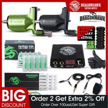 Kit à tatouer Dragonhawk, 2 machines à tatouer rotatives, alimentation électrique, fournitures pour artistes
