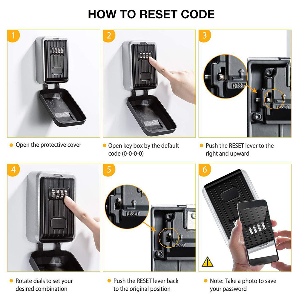 Key Lock Box With Waterproof Case Wall Mount Metal Password Box For Home Business Realtors PUO88