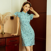 Make spot cheongsam summer Chinese wind model improved cheongsam daily antique dress young sweet fairy hanfu