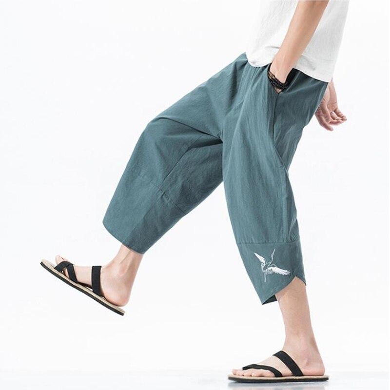 2019 Sinicism Summer Chinese Style Men Loose Linen Knee Length Harem Pants Male Bermuda Casual Board Short Pants S-5XL